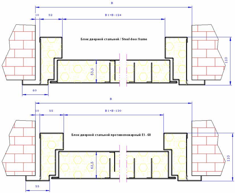Расчет технических размеров противопожарной двери